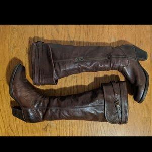 Brown Frye OTK/convertible boots